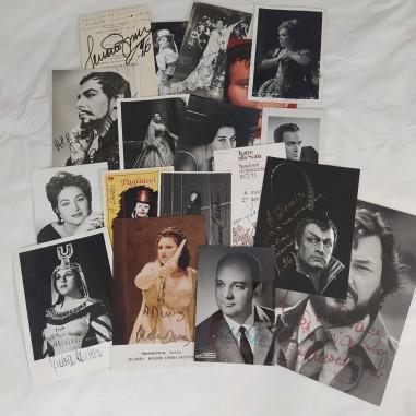 18 tra fotografie e biglietti autografati cantanti lirici anni 60/90