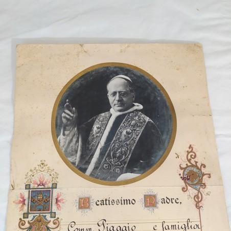 Diploma di visita del Commendator PIAGGIO al Papa Pio XI 27x40 cm