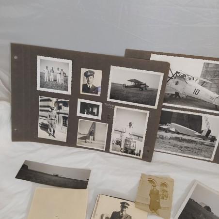 Lotto di 35 foto di aerei e piloti anni 30/40 probabile album personale