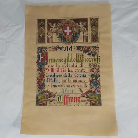 ERMENEGILDO RICCARDI Pergamena di Cavaliere 1935 con autografi