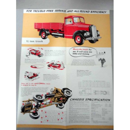 MORRIS COMMERCIAL 1 1/2 TON TRUCK BROCHURE AUTOCARRO INGLESE 4 PAG. REF 7/56