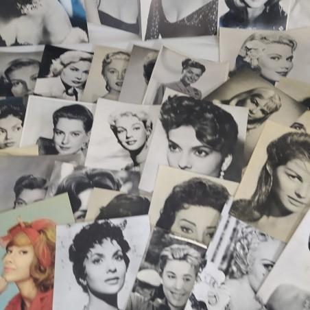 Lotto di 28 fotografie di attrici bianco e nero anni 60 vari formati