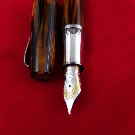 MONTEGRAPPA penna stilografica in argento e celluloide tartaruga inusata