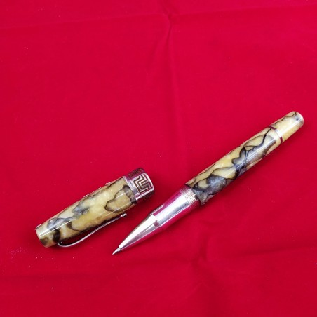 MONTEGRAPPA penna a sfera in argento e celluloide marmo verde e marrone
