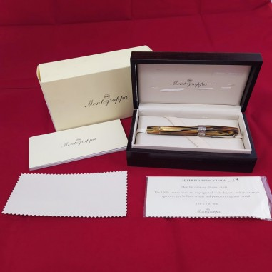 MONTEGRAPPA penna biro in argento e celluloide tartaruga inusata